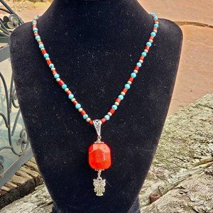Vintage Natural Coral and turquoise necklace